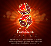 Gambling dice poster. Casino gamble craps red retro placard concept, vector illustration