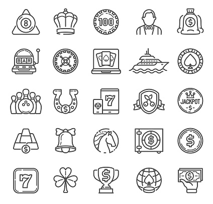 Gambling Games Line Icons with online games, cards, casino roulette and dices icons