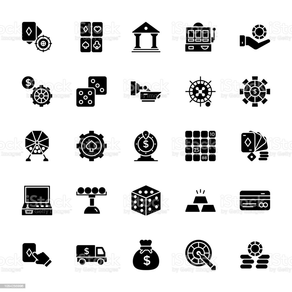 Gambling Glyph Vector Icons vector art illustration