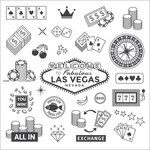 Gambling icons set Icons set on gambling in Las Vegas. gambling stock illustrations