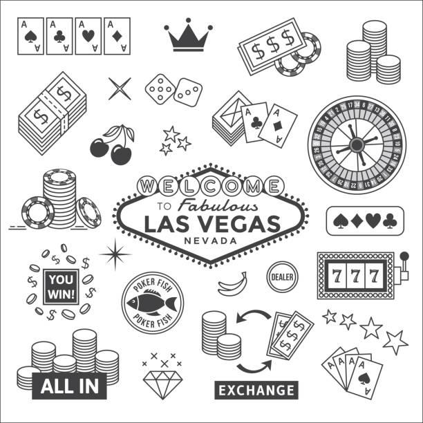 illustrazioni stock, clip art, cartoni animati e icone di tendenza di gambling icons set - las vegas