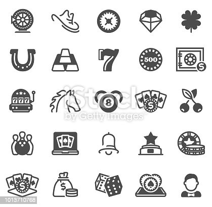 Gambling Games and Casino Line Icons with online games, cards, casino roulette and dices icons