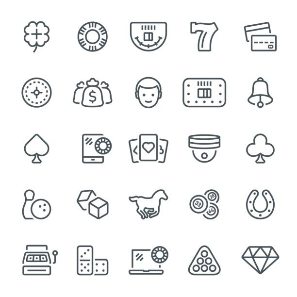 Gambling Icons Gambling, games of chance, casino, icon, icon set, cards, leisure games lottery stock illustrations