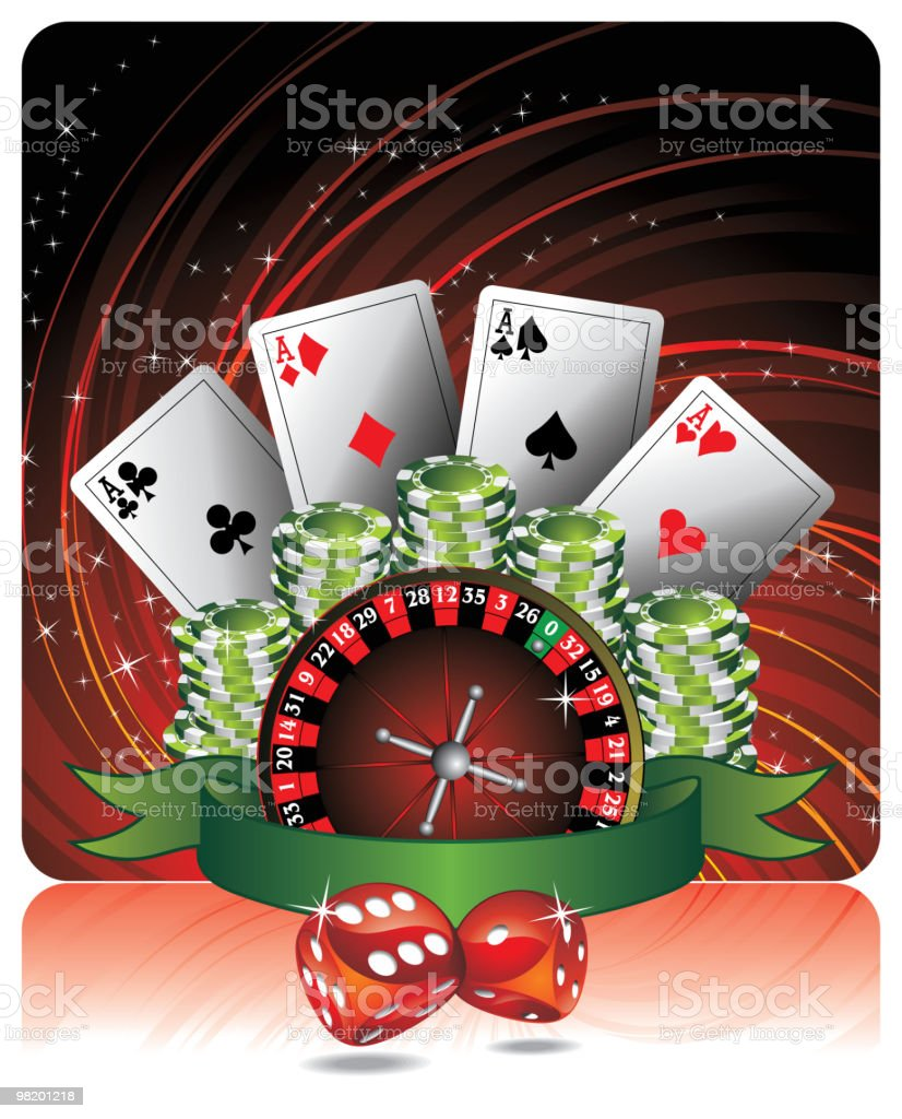 Gambling illustration with casino elements and ribbon. royalty-free gambling illustration with casino elements and ribbon stock vector art & more images of ace