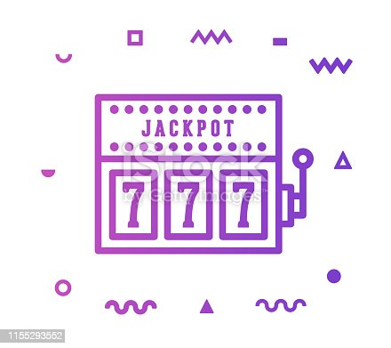 Gambling outline style icon design with decorations and gradient color. Line vector icon illustration for modern infographics, mobile designs and web banners.