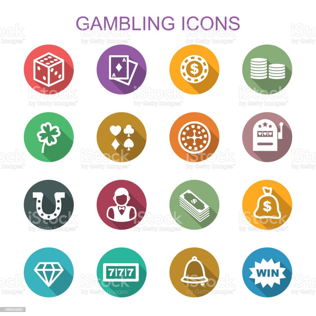 gambling long shadow icons vector art illustration