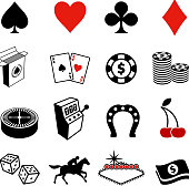 Gambling , Poker and Las Vegas black & white icon set