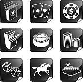 Gambling, Poker and Las Vegas nine sticker set