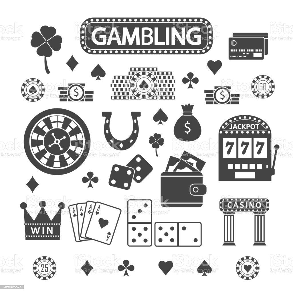 Gambling silhouette icons set vector art illustration