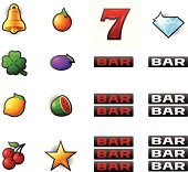 Gambling and slot machine symbols. EPS 10 file. Transparency used on highlight elements.