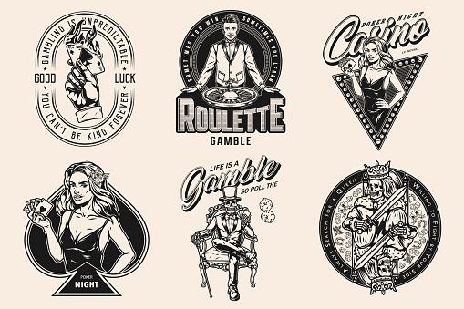 Gambling vintage monochrome designs set