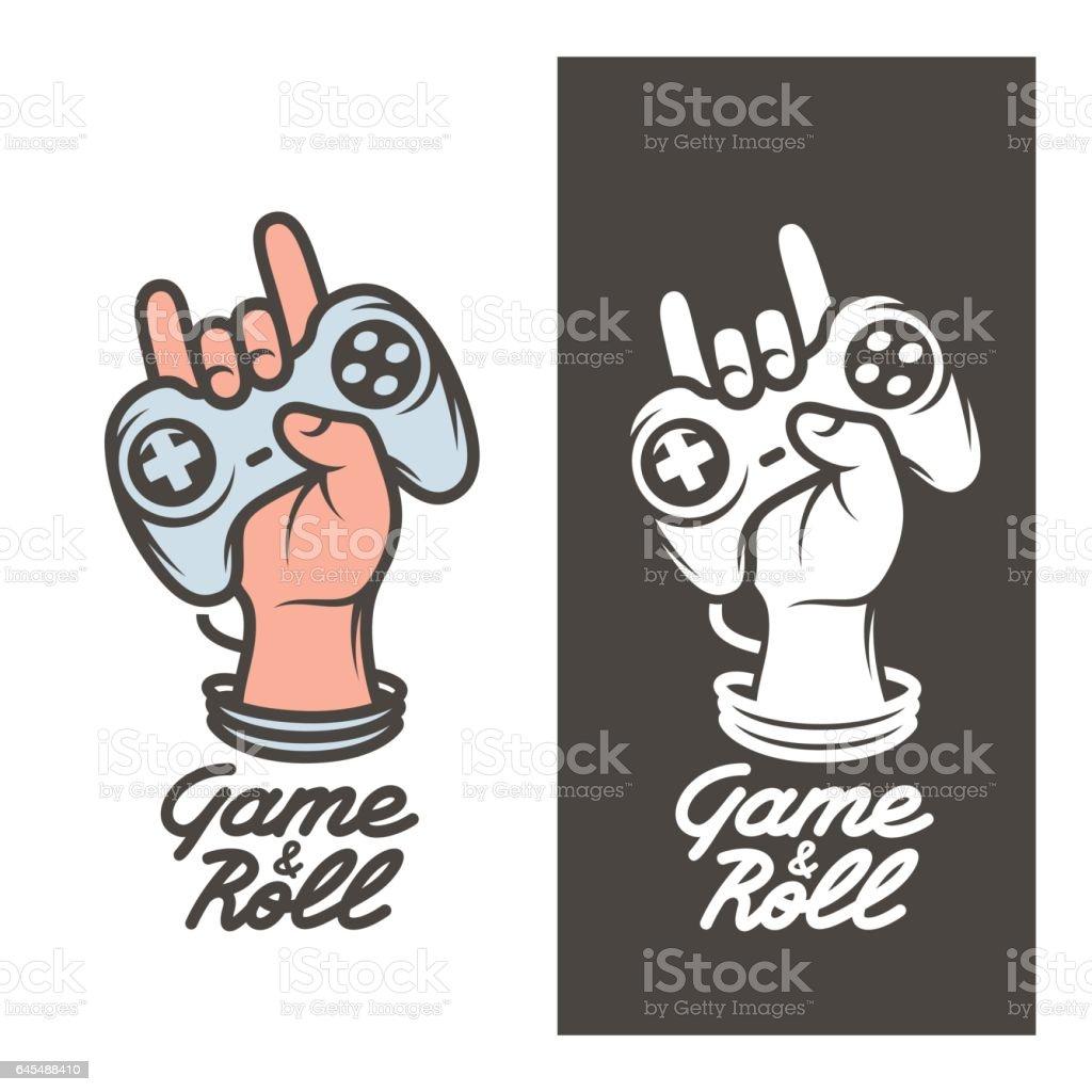 Game and roll t-shirt design. Hand with joystick. Vector vintage illustration. vector art illustration