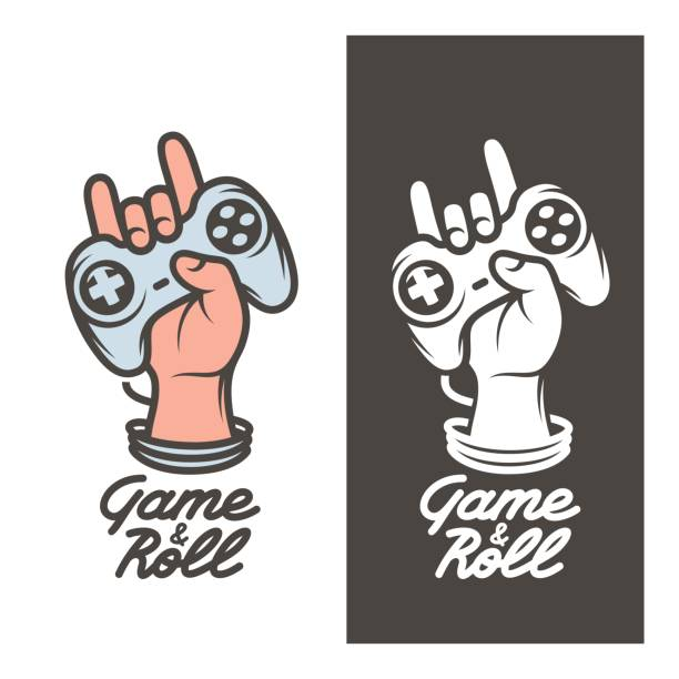 Game and roll t-shirt design. Hand with joystick. Vector vintage illustration. Game and roll t-shirt design. Oldschool videogames related poster. Hand with joystick in rock on gesture. Vector vintage illustration. game controller stock illustrations