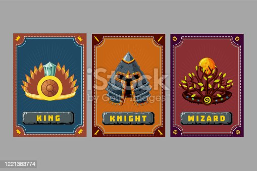 Game asset pack. Crown and helmet kit. Fantasy card with magic items. Cartoon vector illustration. User interface design elements with decorative frame.