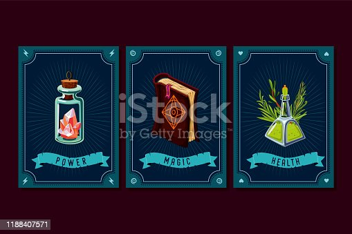 Game asset pack. Fantasy card with magic items. User interface design elements with decorative frame. Cartoon vector illustration. Book, crystal and elixir
