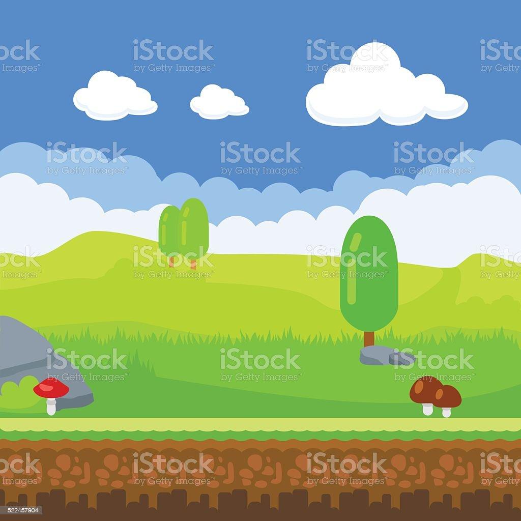 ゲームの背景カットイラスト自然の風景 - つながりのベクターアート素材