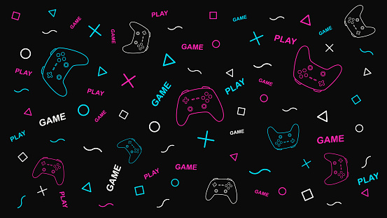 Game background with gamepad and graphic elements. Joystick sign. Outline design.