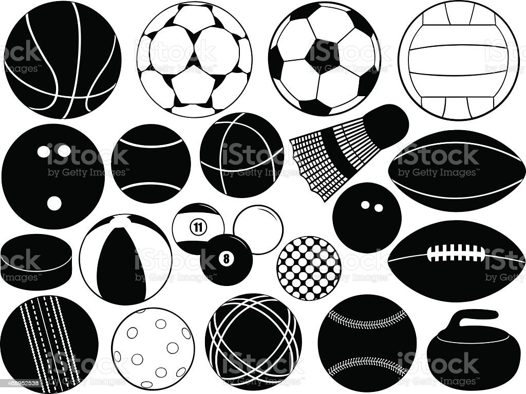 Game balls vector art illustration