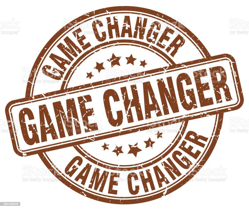 game changer brązowy grunge okrągły vintage gumowy znaczek - Grafika wektorowa royalty-free (Atrament)