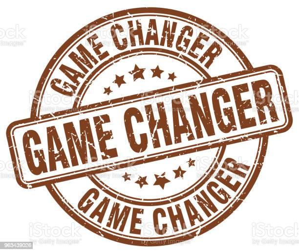 Game Changer Brązowy Grunge Okrągły Vintage Gumowy Znaczek - Stockowe grafiki wektorowe i więcej obrazów Atrament