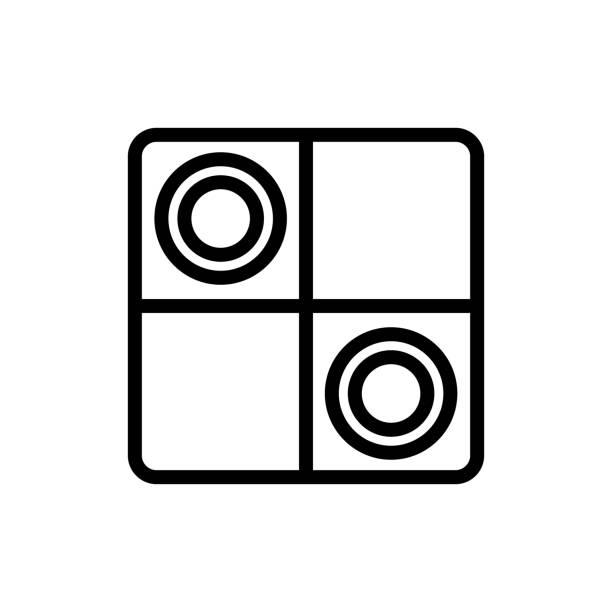 game checkers icon vector outline illustration game checkers icon vector. game checkers sign. isolated contour symbol illustration backgammon stock illustrations
