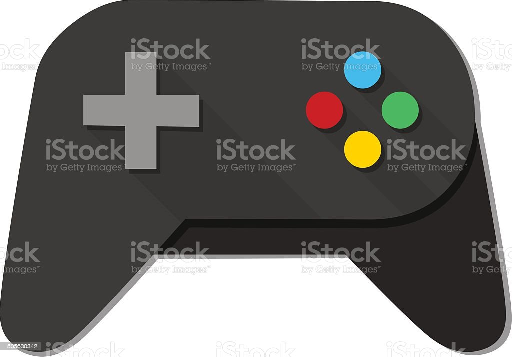 Game Console Black Joystick vector art illustration