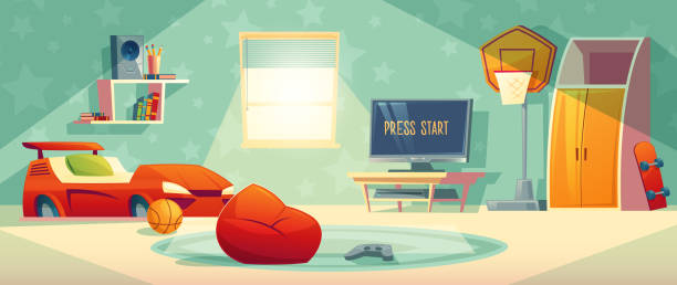 Game console in kid room vector illustration Kid room vector illustration of video game console, TV monitor or display and joystick. Boy cartoon bedroom interior background with furniture, car bed or bookshelf and basketball, skateboard bedroom stock illustrations