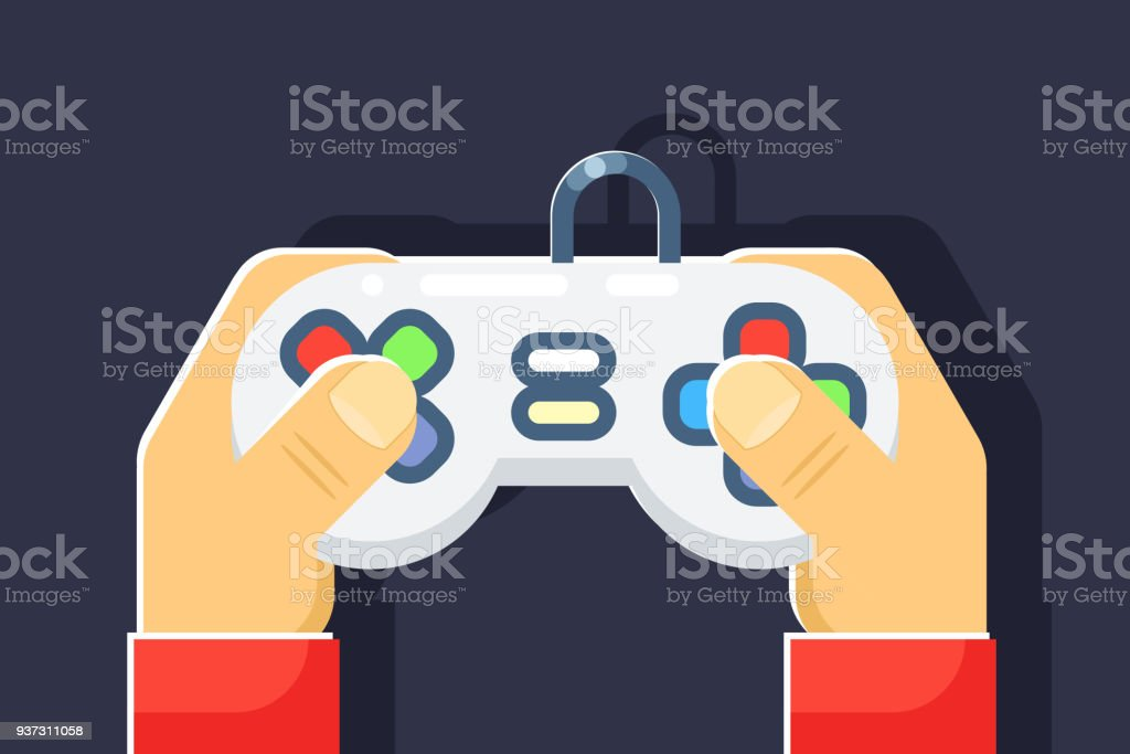 Game console retro games player hands joystick controller flat icon isolated vector illustration vector art illustration