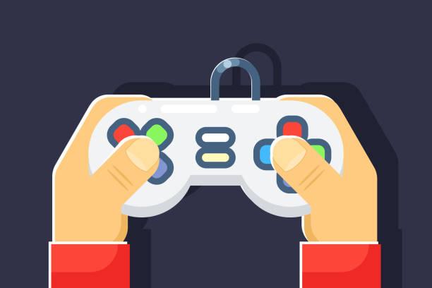spielekonsole-retro-games-player hände joystick controller flach symbol isoliert-vektor-illustration - funktionssofa stock-grafiken, -clipart, -cartoons und -symbole