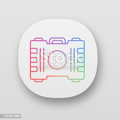 Game container, kit app icon. Construction tools, items storage. Player inventory. Saving objects box. Cybersport equipment. UI/UX user interface. Web, mobile application. Vector isolated illustration