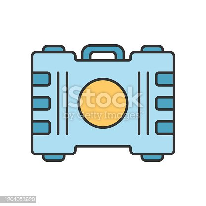 Game container, kit color icon. Construction tools, items storage. Player inventory. Saving objects plastic box with handle. Cybersport equipment. Isolated vector illustration