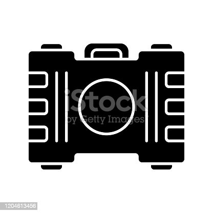 Game container, kit glyph icon. Construction tools, item storage. Player inventory. Plastic box with handle. Cybersport equipment. Silhouette symbol. Negative space. Vector isolated illustration