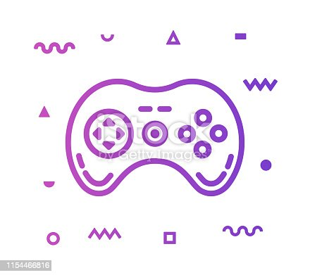Video game outline style icon design with decorations and gradient color. Line vector icon illustration for modern infographics, mobile designs and web banners.