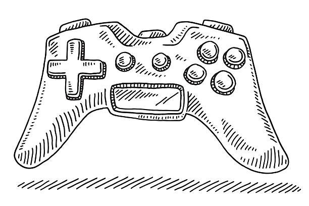 Game Controller Drawing Hand-drawn vector drawing of a Game Controller. Black-and-White sketch on a transparent background (.eps-file). Included files are EPS (v10) and Hi-Res JPG. game stock illustrations