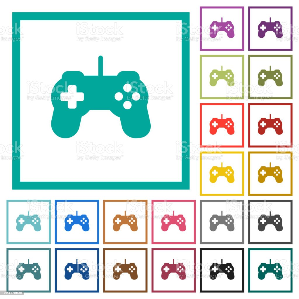 Game controller flat color icons with quadrant frames royalty-free game controller flat color icons with quadrant frames stock vector art & more images of activity