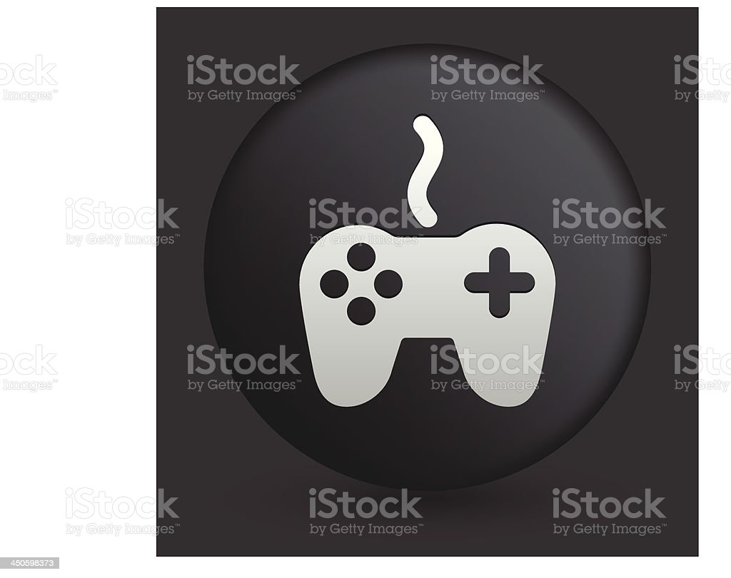 Game Controller Icon on Round Black Button Collection vector art illustration