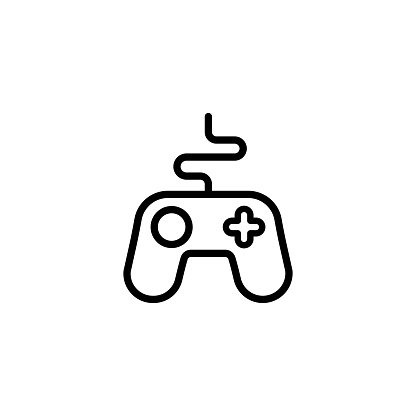 Game controller line icon. Gamepad, joystick. Vector on isolated white background. Eps 10.