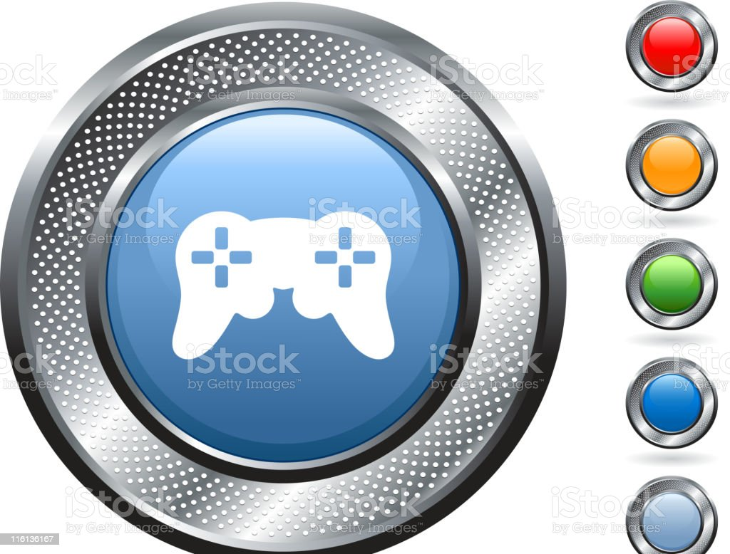 game controller royalty free vector art on metallic button royalty-free stock vector art