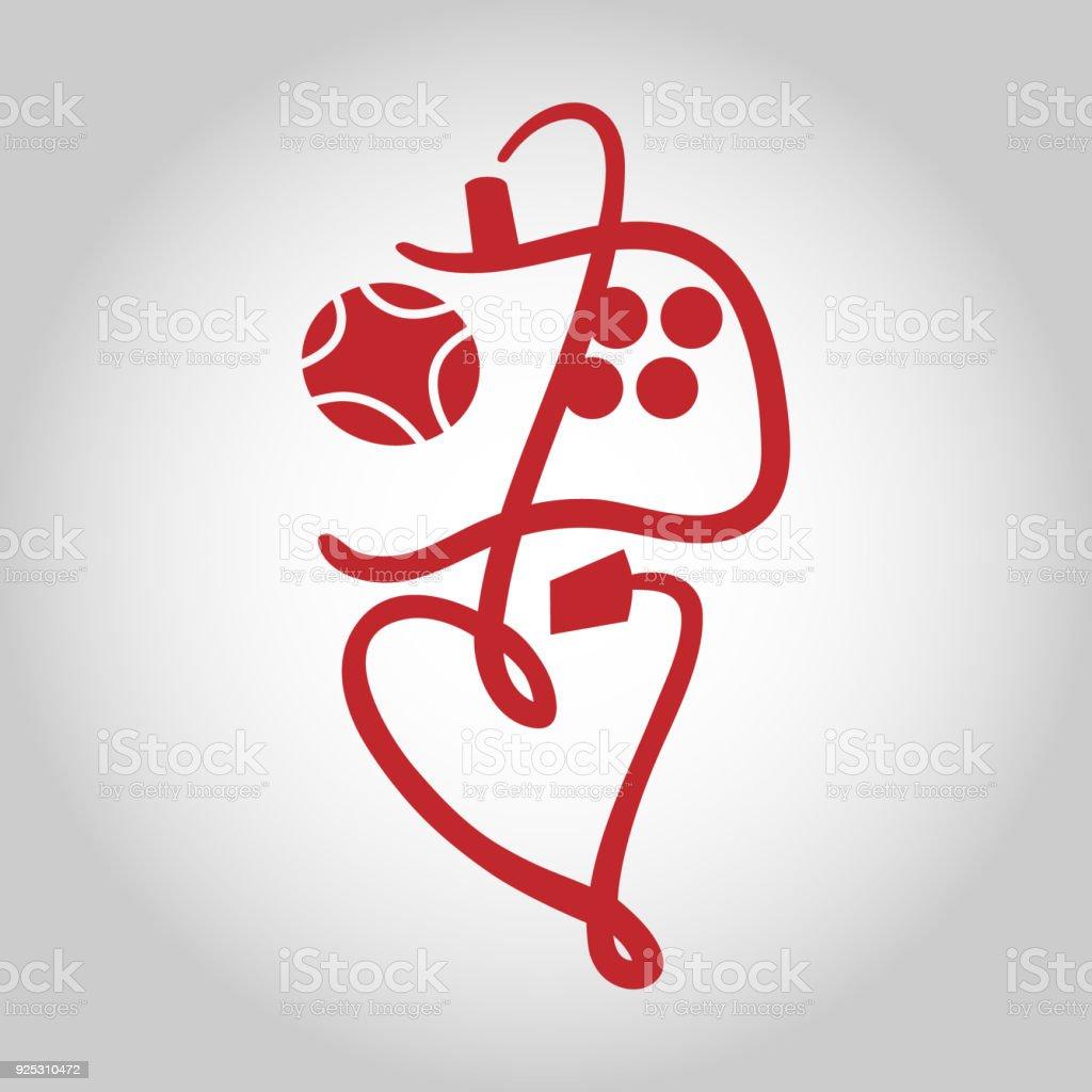 Game Controller Symbol Icon Love Gaming Concept Stock Vector Art