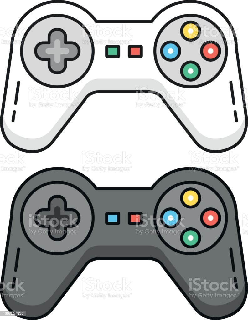Game controllers set. Black and white gamepads. Outline concept. Line game controllers, outline gamepad icons. Flat design graphic elements. Vector illustration vector art illustration