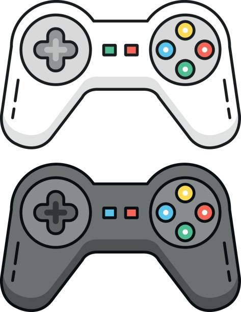 Game controllers set. Black and white gamepads. Outline concept. Line game controllers, outline gamepad icons. Flat design graphic elements. Vector illustration Game controllers set. Black and white gamepads. Outline concept. Line game controllers, outline gamepad icons isolated on white background. Flat design graphic elements. Vector illustration game controller stock illustrations