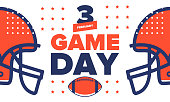 Game Day. American football playoff. championship game Party in United States. Final game of regular season. Professional team championship. Ball for american football. Sport poster. Vector illustration