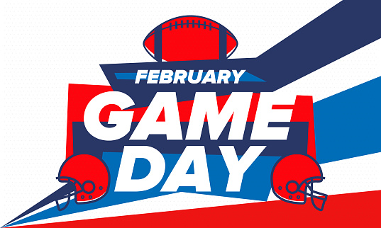 Game Day. American football playoff.   Party in United States. Final game of regular season. Professional team championship. Ball for american football. Sport poster. Vector illustration