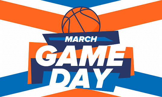 Game Day. Basketball football playoff in March. Super sport party in United States. Final games of season tournament. Professional team championship. Ball for basketball. Sport poster. Vector illustration