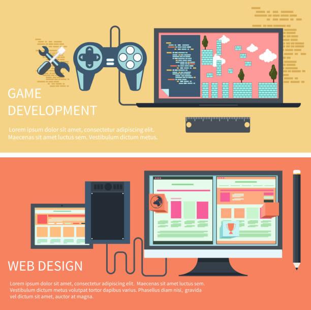 spiele-entwicklung, web-design-konzept - tablet mit displayinhalt stock-grafiken, -clipart, -cartoons und -symbole