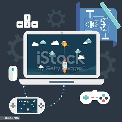 istock Game development concepts. Design elements for mobile and web applications. 610447786