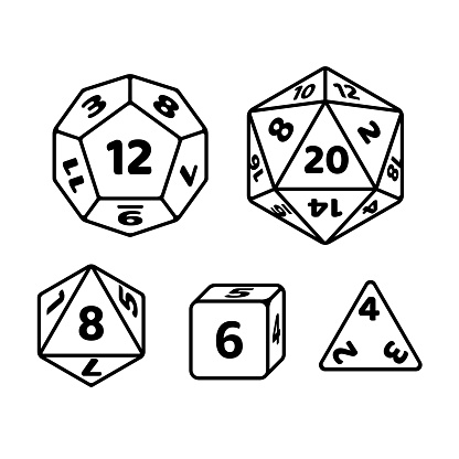 Set of polyhedron dice for fantasy RPG tabletop games. d20, d12, d8 and cube with numbers on sides. Black and white vector icons.