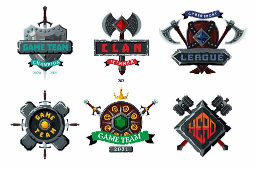 Game emblem set. Cyber sport team vector signs. Player club heraldic symbols. Fantasy antique shields and coats. Vector cartoon arms.