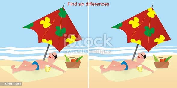 istock Game, find six differences, man on beach, eps. 1324912964