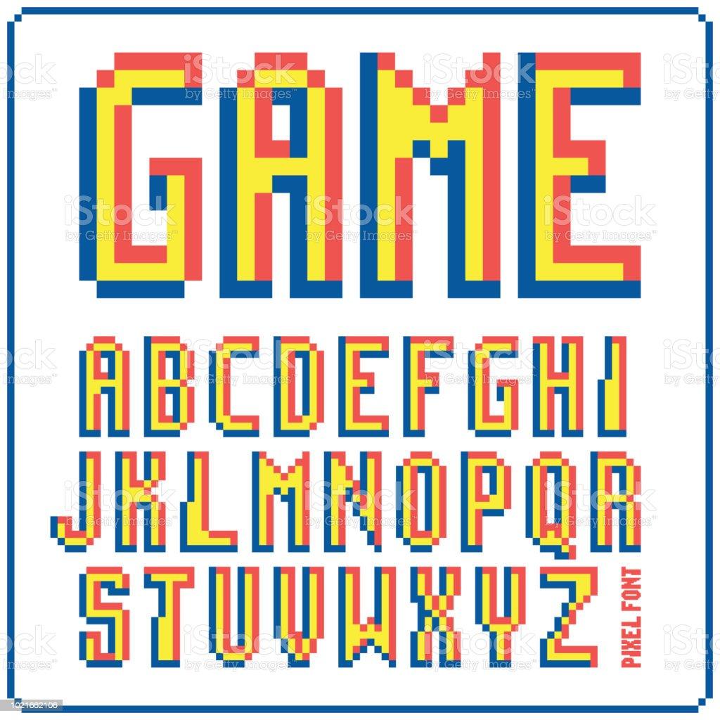 ゲーム フォント 8 ビットのレトロな書体 1。ベクトル図を分離しました。 ベクターアートイラスト